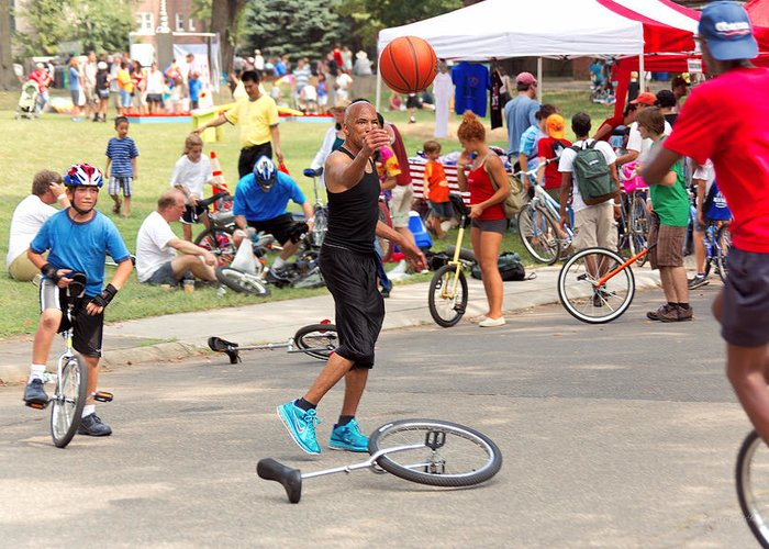 Unicycle Greeting Card featuring the photograph Unicyclist - Basketball - Street Rules by Mike Savad
