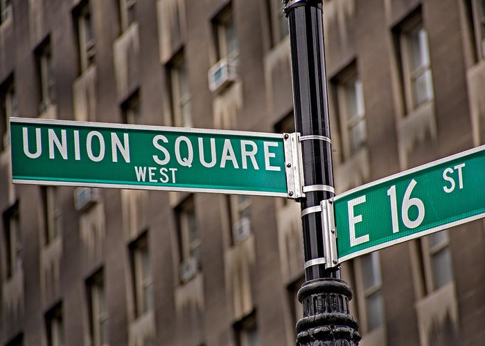 Union Square Greeting Card featuring the photograph Union Square West I by Susan Candelario