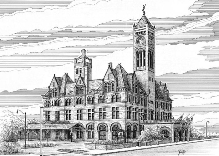 Union Station In Nashville Greeting Card featuring the drawing Union Station In Nashville Tn by Janet King