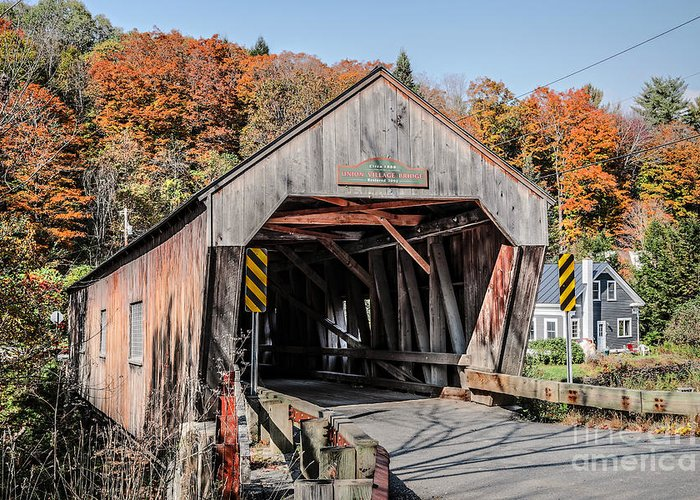 Thetford Greeting Card featuring the photograph Union Village Covered Bridge Thetford Vermont by Edward Fielding