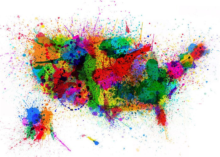 Usa Map Greeting Card featuring the digital art United States Paint Splashes Map by Michael Tompsett