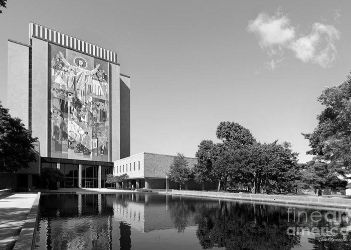 Big East Conference Greeting Card featuring the photograph University Of Notre Dame Hesburgh Library by University Icons