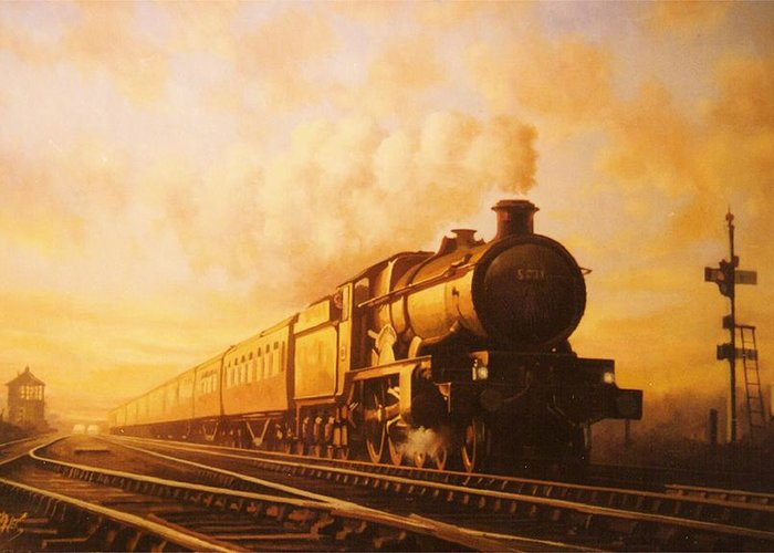 Castle Greeting Card featuring the painting Up Express To Paddington by Mike Jeffries