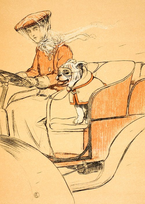 Motor Car Greeting Card featuring the painting Up Front by Cecil Charles Windsor Aldin