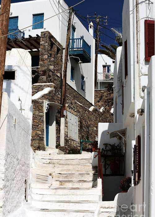 Up The White Stairs In Mykonos Greeting Card featuring the photograph Up The White Stairs In Mykonos by John Rizzuto