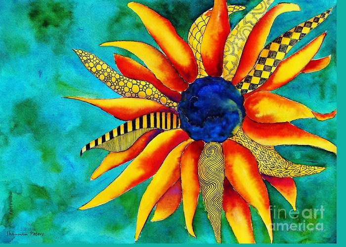 Earth Greeting Card featuring the painting Urchin by Shannan Peters
