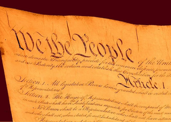 13 Greeting Card featuring the drawing Us Constitution Closeup Red Brown Background by L Brown