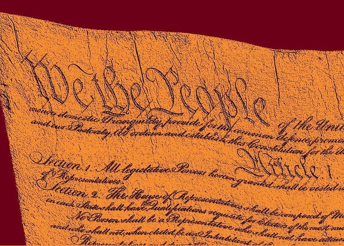 13 Greeting Card featuring the drawing Us Constitution Closeup Sculpture Violet Red Background by L Brown