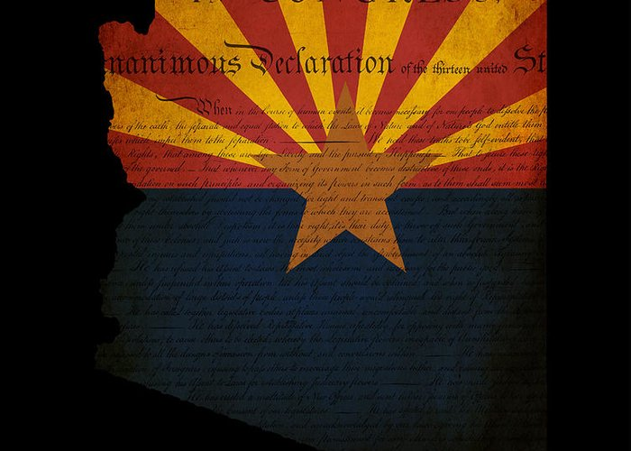Usa Greeting Card featuring the photograph Usa American Arizona State Map Outline With Grunge Effect Flag A by Matthew Gibson
