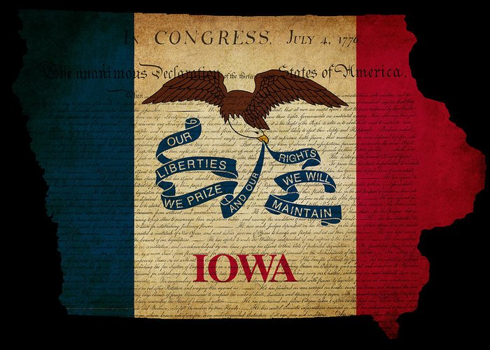 Usa Greeting Card featuring the photograph Usa American Iowa State Map Outline With Grunge Effect Flag And by Matthew Gibson