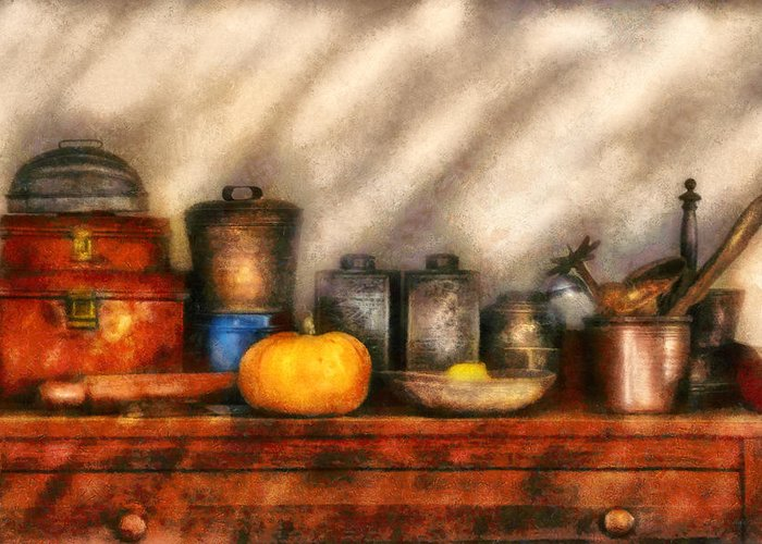 Savad Greeting Card featuring the photograph Utensils - Kitchen Still Life by Mike Savad