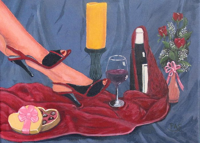 Red Romance Wine Bottle Candy Candle Stand Nightgown Ladies Shoes Sensual Feet Women Cloth Flowers Roses Baby�s Breath Valentine Day Card Romantic Love Wine Glass Floral Arrangement Vase Of Flowers Red Toenails Blue Cloth Art Prints On Canvas Work Of Art Fine Art Work Colorful Acrylic Paintings Landscape Paintings For Sale Buy Art Wall Art Canvas Artist Canvas Paintings For Sale Paintings Acrylic Paintings On Canvas Greeting Card featuring the painting Valentine's Day by Pete Souza