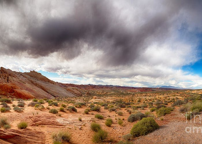 Nevada Greeting Card featuring the photograph Valley Of Fire With Dramatic Sky by Jane Rix