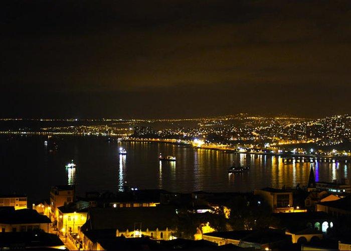 Valparaiso Greeting Card featuring the photograph Valparaiso Harbor At Night by Kurt Van Wagner