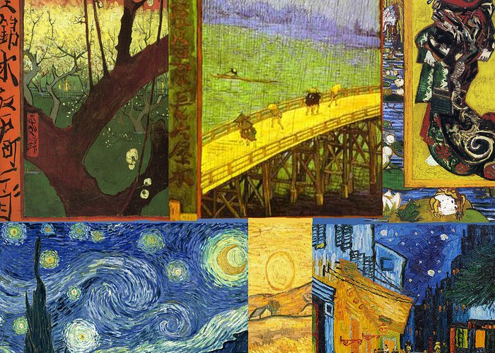 Van Gogh Greeting Card featuring the painting Van Gogh Collage by Philip Ralley