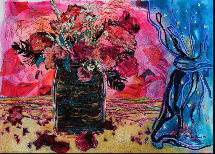 Flowers In A Vase Greeting Card featuring the mixed media Vase And Blue Curtain by Diane Fine
