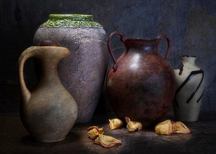Amphora Greeting Card featuring the photograph Vases And Urns Still Life by Tom Mc Nemar