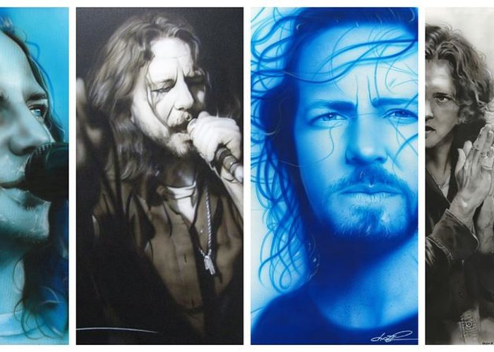 Eddie Vedder Greeting Card featuring the painting 'vedder Mosaic I' by Christian Chapman Art