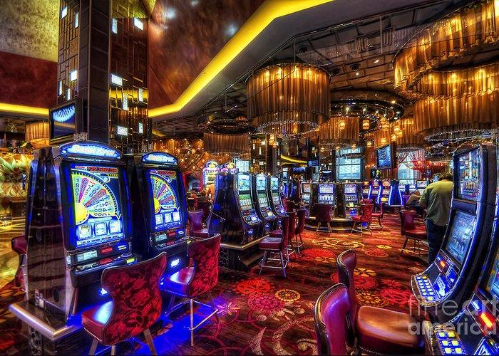 Art Greeting Card featuring the photograph Vegas Slot Machines by Yhun Suarez