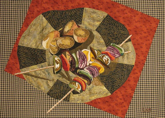 Art Quilts Tapestries Textiles Greeting Card featuring the tapestry - textile Vegetable Kabobs by Lynda K Boardman
