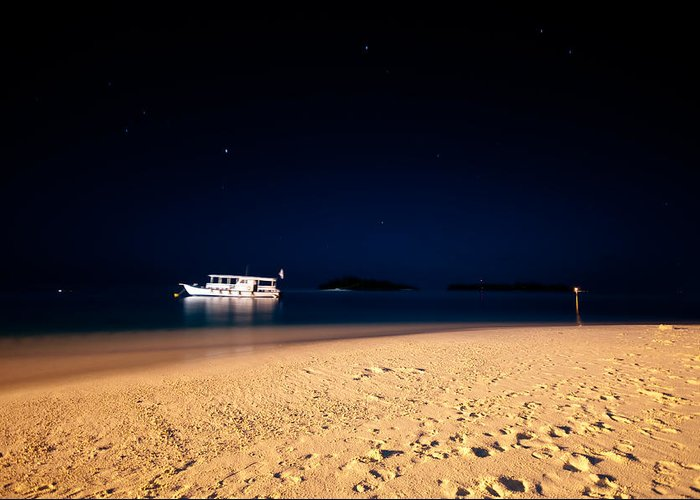Tropical Greeting Card featuring the photograph Velvet Night On The Island by Jenny Rainbow