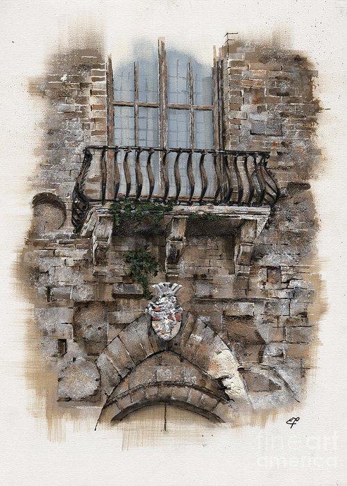 Venice Greeting Card featuring the painting Venetian Balcony 02 Elena Yakubovich by Elena Yakubovich