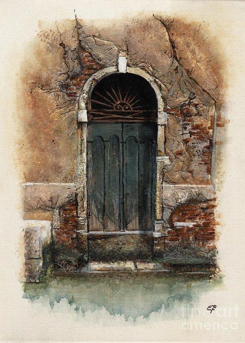 Venice Greeting Card featuring the painting Venetian Door 01 Elena Yakubovich by Elena Yakubovich