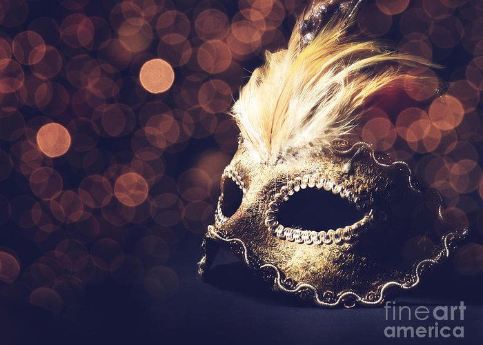 Mask Greeting Card featuring the pyrography Venetian Mask by Jelena Jovanovic