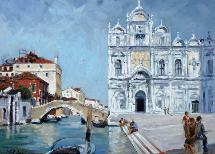Venice Greeting Card featuring the painting Venice - Scuola Di San Marco by Irek Szelag