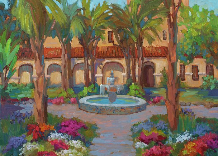 Ventura Mission Greeting Card featuring the painting Ventura Mission by Diane McClary