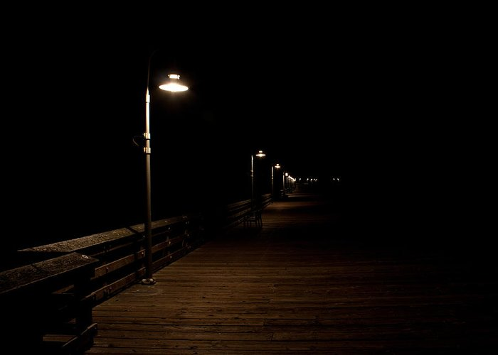 Ventura Greeting Card featuring the photograph Ventura Pier At Night by John Daly