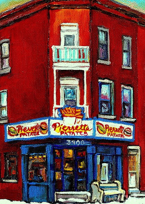 Verdun Greeting Card featuring the painting Verdun Landmarks Pierrette Patates Resto Cafe Deli Hot Dog Joint- Historic Marquees -montreal Scene by Carole Spandau
