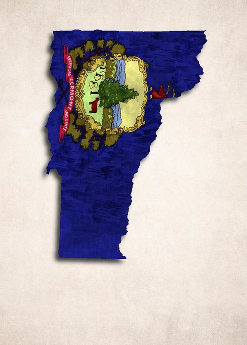 America Greeting Card featuring the digital art Vermont Map Art With Flag Design by World Art Prints And Designs