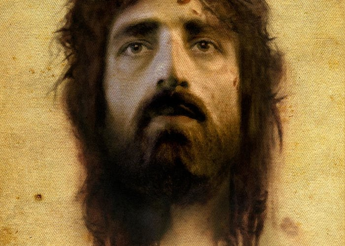 Jesus Greeting Card featuring the digital art Veronica's Veil by Ray Downing