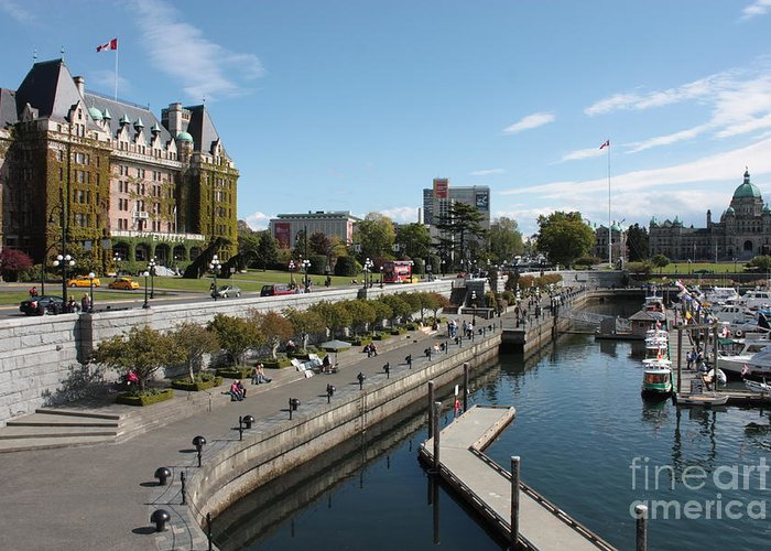 Victoria Greeting Card featuring the photograph Victoria Harbour With Empress Hotel by Carol Groenen