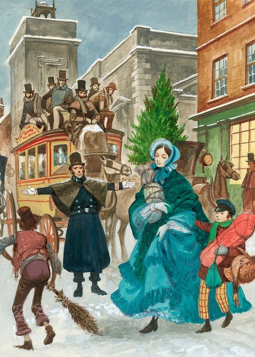 Victorian Christmas Greeting Card featuring the painting Victorian Christmas Scene by Peter Jackson