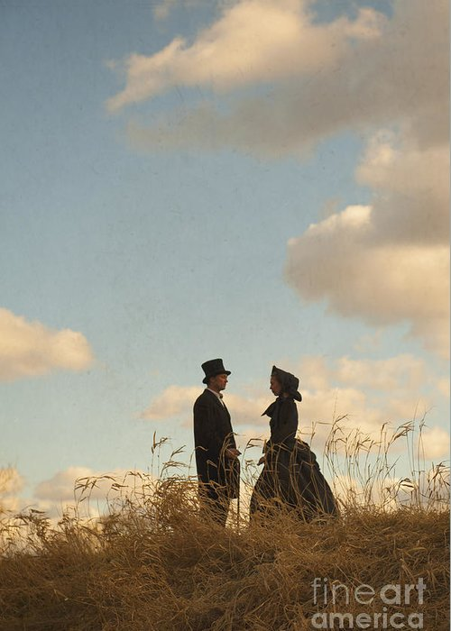Victorian Greeting Card featuring the photograph Victorian Man And Woman by Lee Avison