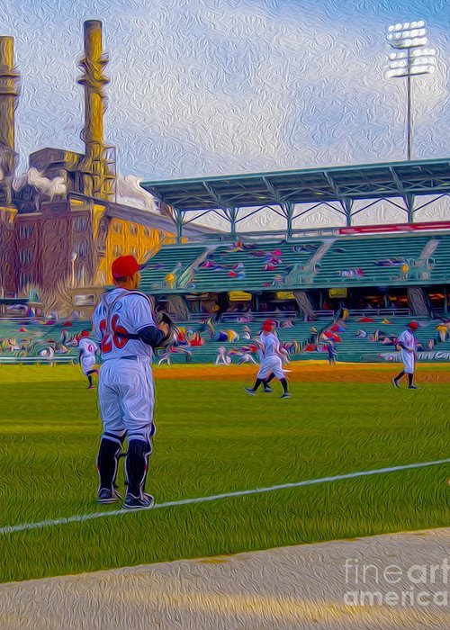 Victory Field Greeting Card featuring the photograph Victory Field Catcher 1 by David Haskett