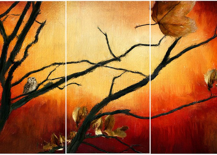 Owl At Sunset Greeting Card featuring the digital art View Of Autumn by Lourry Legarde