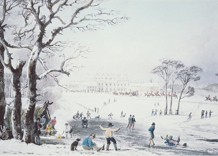 Print Greeting Card featuring the drawing View Of Buckingham House And St James Park In The Winter by John Burnet