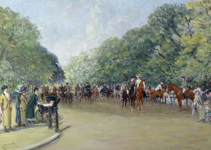 C19th Greeting Card featuring the painting View Of Hyde Park With Figures On Rotten Row by Albert Jnr Ludovici