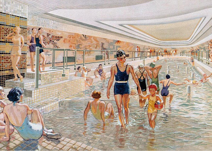 Paquebot Greeting Card featuring the drawing View Of The First Class Swimming Pool by French School