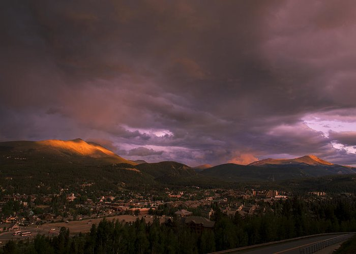 Breckenridge Sunset Greeting Card featuring the photograph View Over Breckenridge by Michael J Bauer
