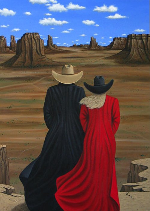 Contemporary Greeting Card featuring the painting View West by Lance Headlee