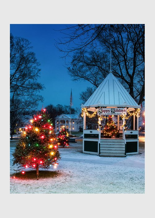 New England Greeting Card featuring the photograph Village Green Holiday Greetings- New Milford Ct - by Thomas Schoeller