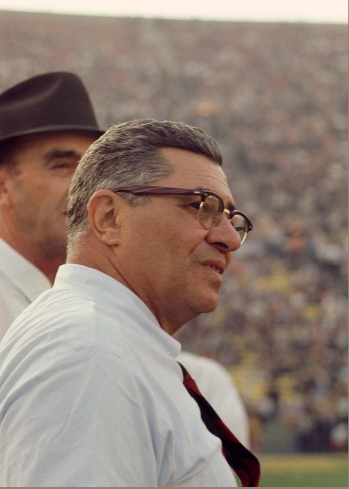 Marvin Newman Greeting Card featuring the photograph Vince Lombardi Coaching by Retro Images Archive