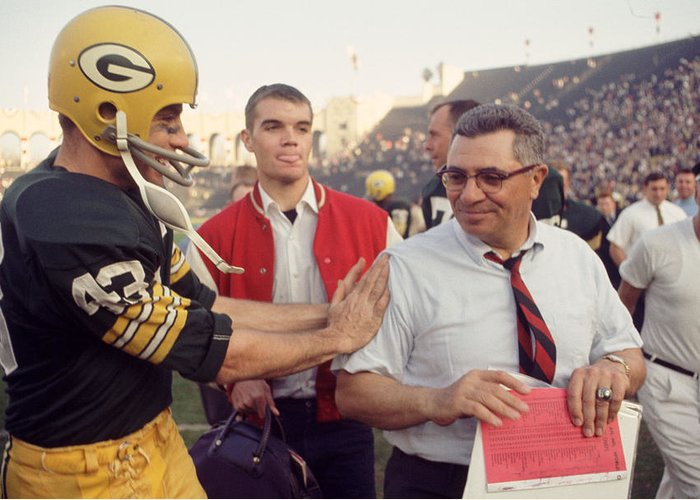 Marvin Newman Greeting Card featuring the photograph Vince Lombardi Congratulated by Retro Images Archive