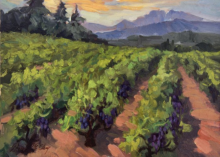 Vineyard At Dentelles Greeting Card featuring the painting Vineyard At Dentelles by Diane McClary