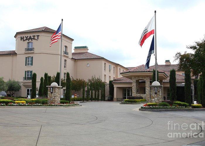 Santa Rosa Greeting Card featuring the photograph Vineyard Creek Hyatt Hotel Santa Rosa California 5d25787 by Wingsdomain Art and Photography