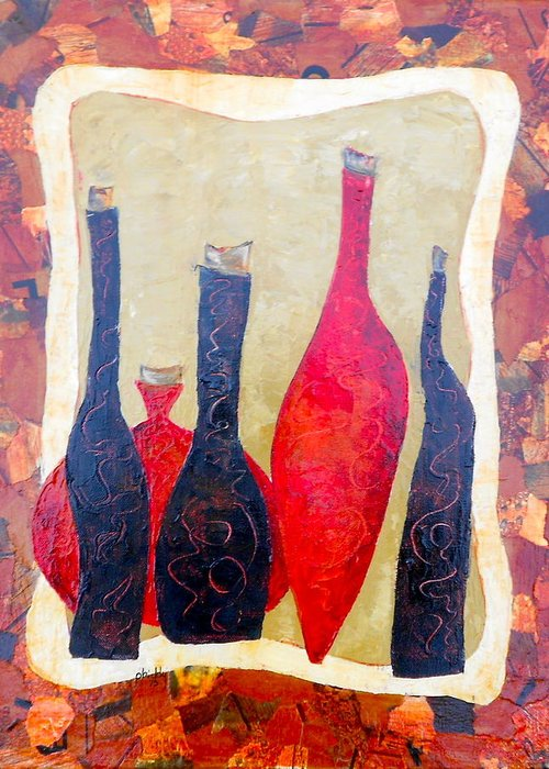 Bottles Greeting Card featuring the painting Vino 1 by Phiddy Webb